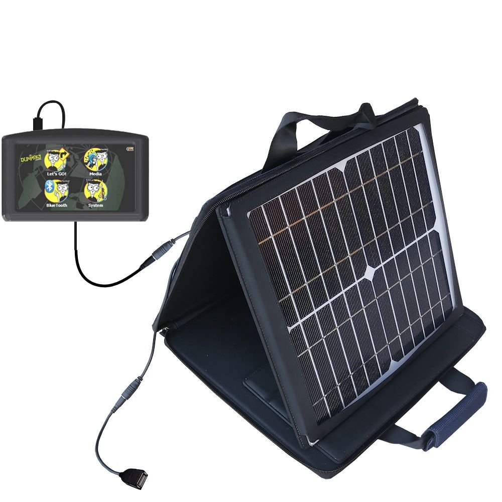 Gomadic SunVolt High Output Portable Solar Power Station designed for the Maylong FD-430 GPS For Dummies - Can charge multiple devices with outlet speeds by Gomadic