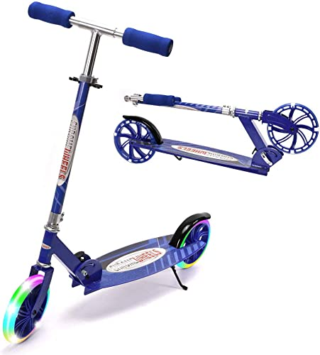 ChromeWheels Kick Scooter, Deluxe 8 Large 2 Light Up Wheels Wide Deck 5 Adjustable Height with Kickstand Foldable Scooters, Best Gift for Age 9 up Kids Girls Boys Teens, 200lb Weight Limit