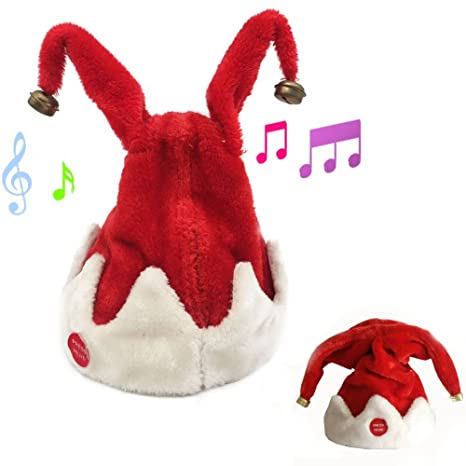 9937082a7ee6a Amazon.com  Christmas Singing Dancing Santa Hat Red Santa Cap with Plush  Trim  Toys   Games