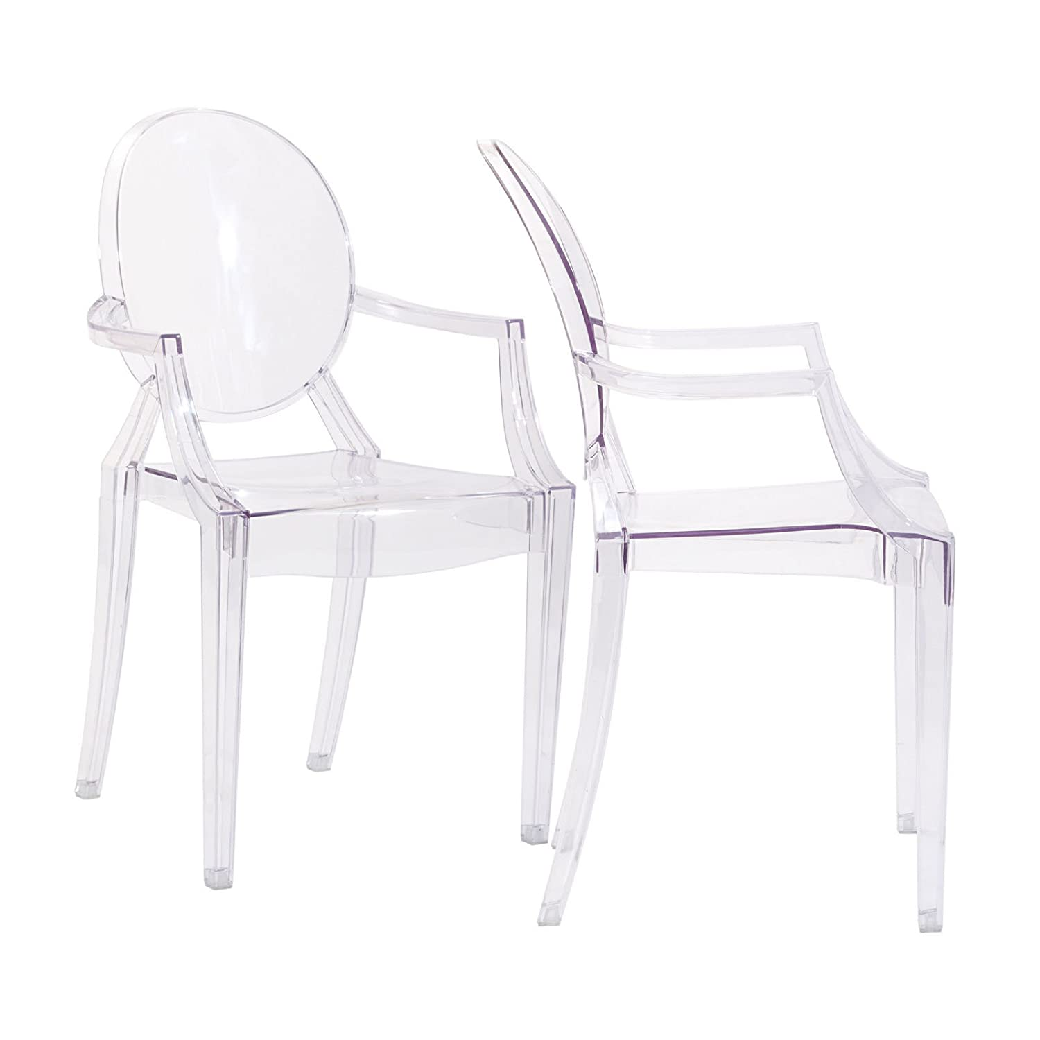 Amazon Modway Casper Dining Armchairs Set of 2 in Clear Chairs