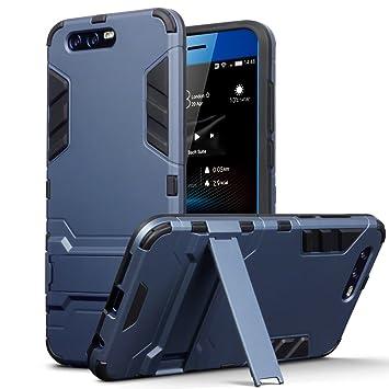 Huawei Honor 9 Carcasa Híbrida de Silicona + Polycarbonato Doble Resistencia, y soporte para mesa - Azul oscuro
