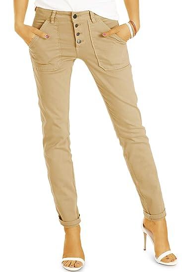 1ee9fbf5397a5a bestyledberlin Girlfriend Damen Jeans Hose in lässiger lockerer Passform  mit Knopfleiste - j09m 34/XS