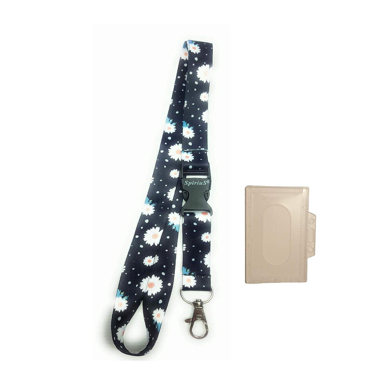 Cordones con tarjetero de identificaci/ón de pl/ástico de estilo exclusivo con clip de seguridad desmontable. color estilo 1 SpiriuS