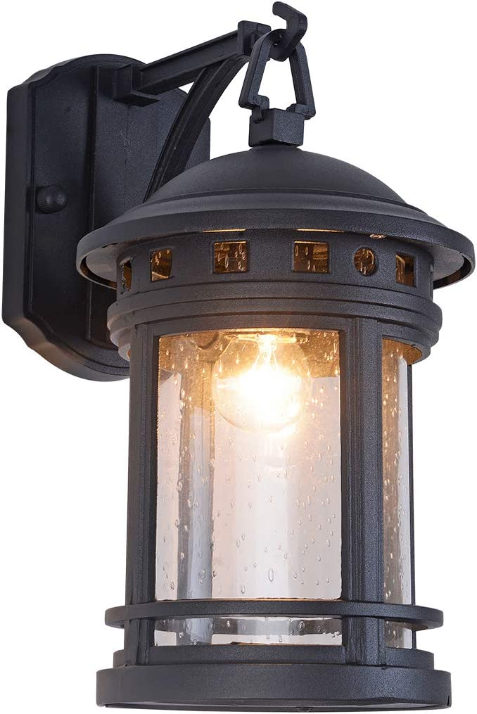 Industrial Outdoor Wall Light Exterior Wall Mounted Light Fixtures Waterproof Rust-Proof House Deck Patio Porch Lighting Matte Black Aluminum Housing with Seed Glass Shade, 12.2 Height