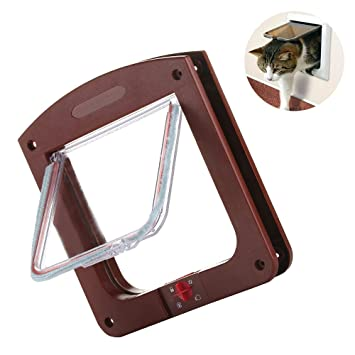 Cat Flap Door 4 Way Locking Magnetic Pet Door Kit For Cats And Small Dogs (