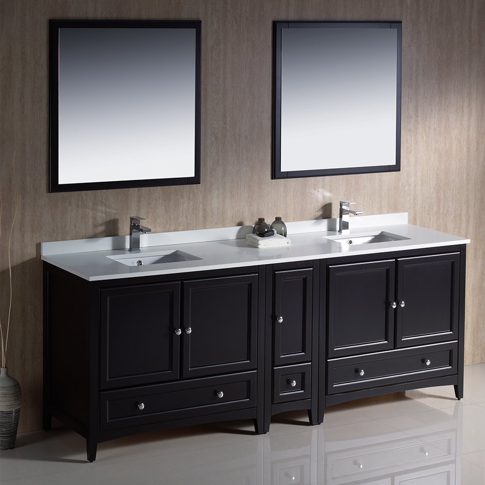 Fresca Bath FVNES Oxford Double Sink Vanity With Side - 84 bathroom vanities and cabinets