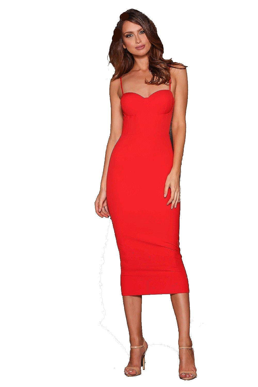 Elle Zeitoune Alannah Red Sweetheart Bustier Mid Length Dress
