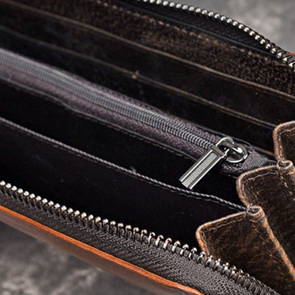 qingqingR Hommes en Cuir Long Portefeuille Bifold Titulaire de la Carte de Cr/édit Zipper Billfold Porte-Monnaie