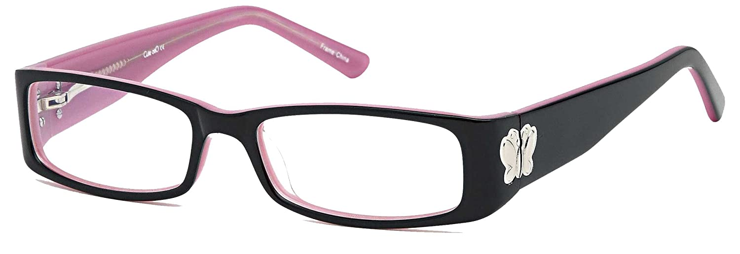 Amazon.com: Childrens Cute Girls Butterfly Glasses Frames Black Kids ...