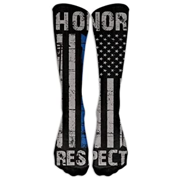 Yuerb Calcetines Altos Style Unisex Socks Casual Knee High Stockings Thin Blue Line American Flag Honor Respect Police Cotton Socks One Size: Amazon.es: ...