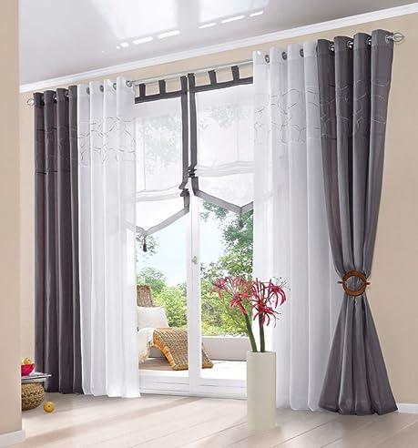 amazon.de: souarts grau stickerei gardine vorhang schlaufenschal ... - Vorhange Wohnzimmer Grau