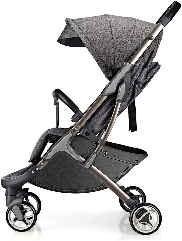 Hot Mom silla de paseo ligera silla de paseo ligera silla de paseo adecuada para viajar, 2020 Nueva versión mejorada con toldo extra grande anti-UV y protección para los pies - Gris