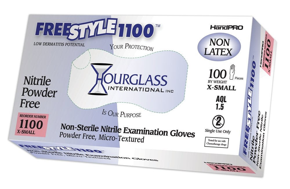 Hourglass HandPRO FreeStyle1100 Nitrile Glove, Exam, Powder Free, 240mm Length, 0.06mm Thick, X-Small (Box of 100) by HandPRO