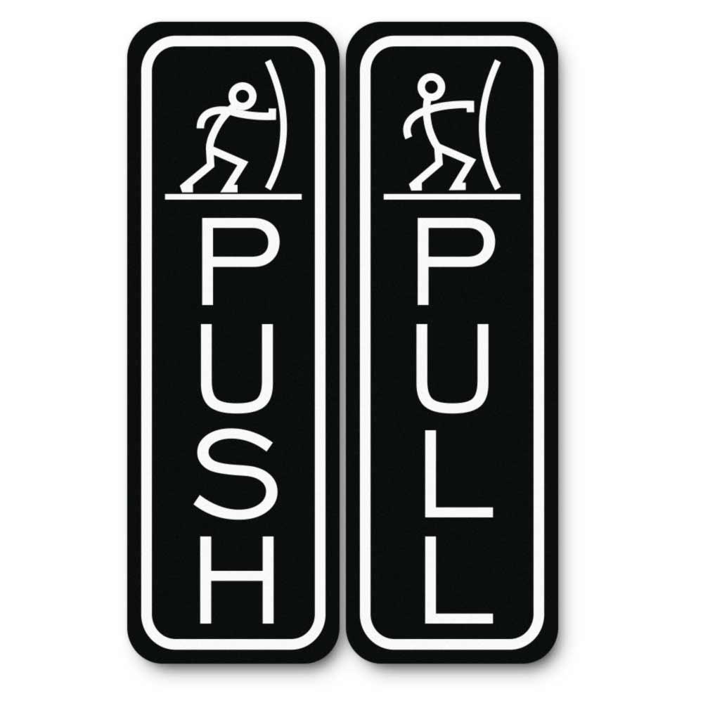 Classic Fun Push Pull Door Sign (Black) - Medium