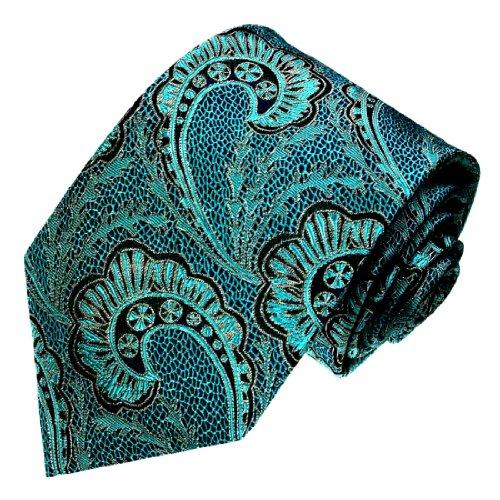 LORENZO CANA - Luxury Italian 100% Silk Tie Woven Black Turquoise Paisley - 84427 ()
