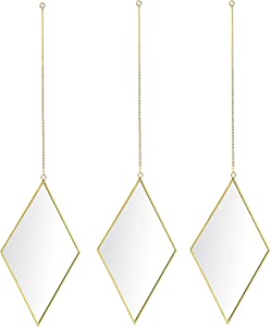 Juxyes Set of 3 Diamond Brass Frame Wall Hanging Mirror, Golden Frame Modern Geometry Mirror with Chain Wall Decor for Home Entryways Living Room Bedroom Apartment Balcony
