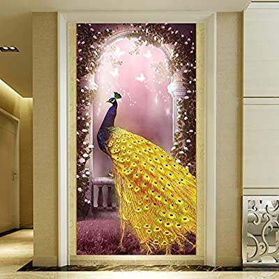 XLi-You 3D Roman Column Peacock Hyun Off Background Wall Paper Decorative Paintings