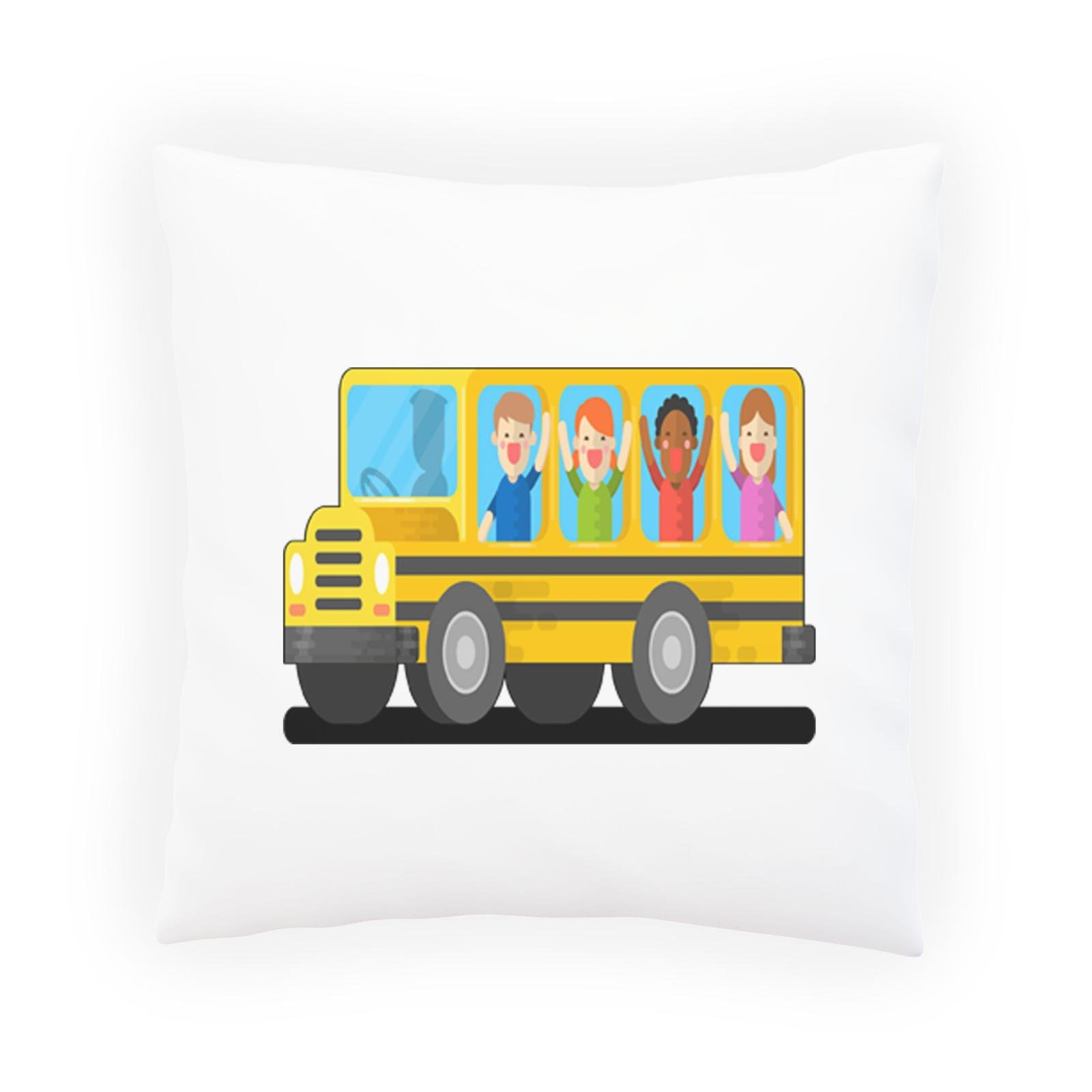 Bus School Fun Smiley Decorative Pillow , Cushion cover with Insert or Without o461p