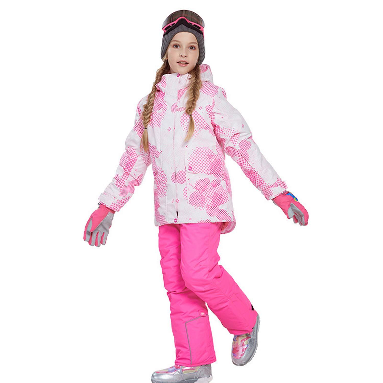 スノーボードウェア 上下セット キッズ 上下着 スキーウェア アウトドアジャケット コート 子ども 男の子 女の子 男女兼用 保温 撥水加工 スキー 釣り用 登山 (81817+ピンク, 120(身長115cm-120cm))