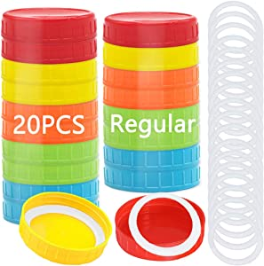 20 Pack Regular Mouth Plastic Mason Jar Lids,Colored Plastic Storage Caps with Silicone Sealing Rings for Mason Canning Jars Drinking Food Storage