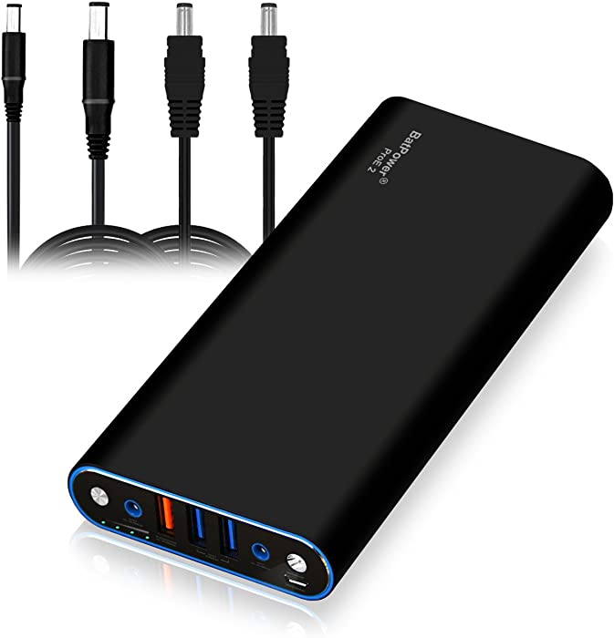 BatPower EX10D 148Wh Laptop Portable Charger Power Bank for Dell Inspiron Latitude XPS Mini Precision Studio Vostro Notebook (Large or Small Circular Connector) USB QC Charge for Tablet Smartphone
