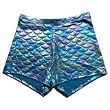 KNEEDARKYEAR Women's Sexy Mermaid Fish Scale Shorts (Small, Baby Blue)