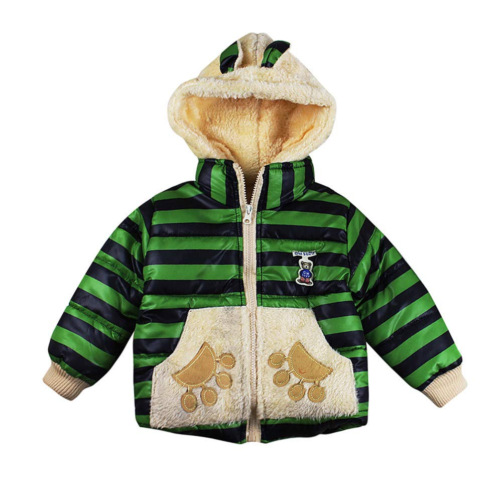 Little Kids Winter Warm Coat,Jchen(TM) Clearance! Baby Kids Little Girl Boy Autumn Winter Warm Cute Cartoon Bear Paw Outerwear Kids Jacket Coat for 1-4 Y (Age: 3-4 Years Old, Green)