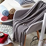 ANJUREN Cotton Knit Reversible Lap Throw Blanket for Couch Sofa Chair Bed Home Decorative Adults Teens Baby Travel Lightweight Soft Cozy Knitted Blankets cover (Gray, 33.5x55 inches)