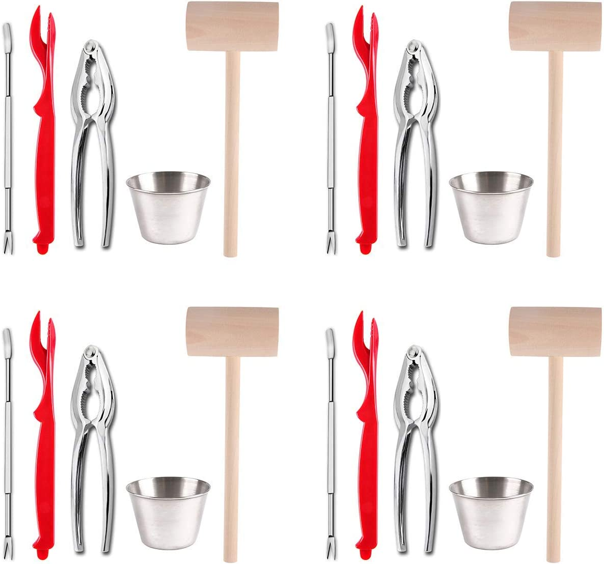 Artcome 22 Piece Seafood Tools Set for 4 People Including 4 Lobster Crab Crackers 4 Lobster Shellers 6 Seafood Forks 4 Sauce Cups and 4 Lobster Crab Mallets