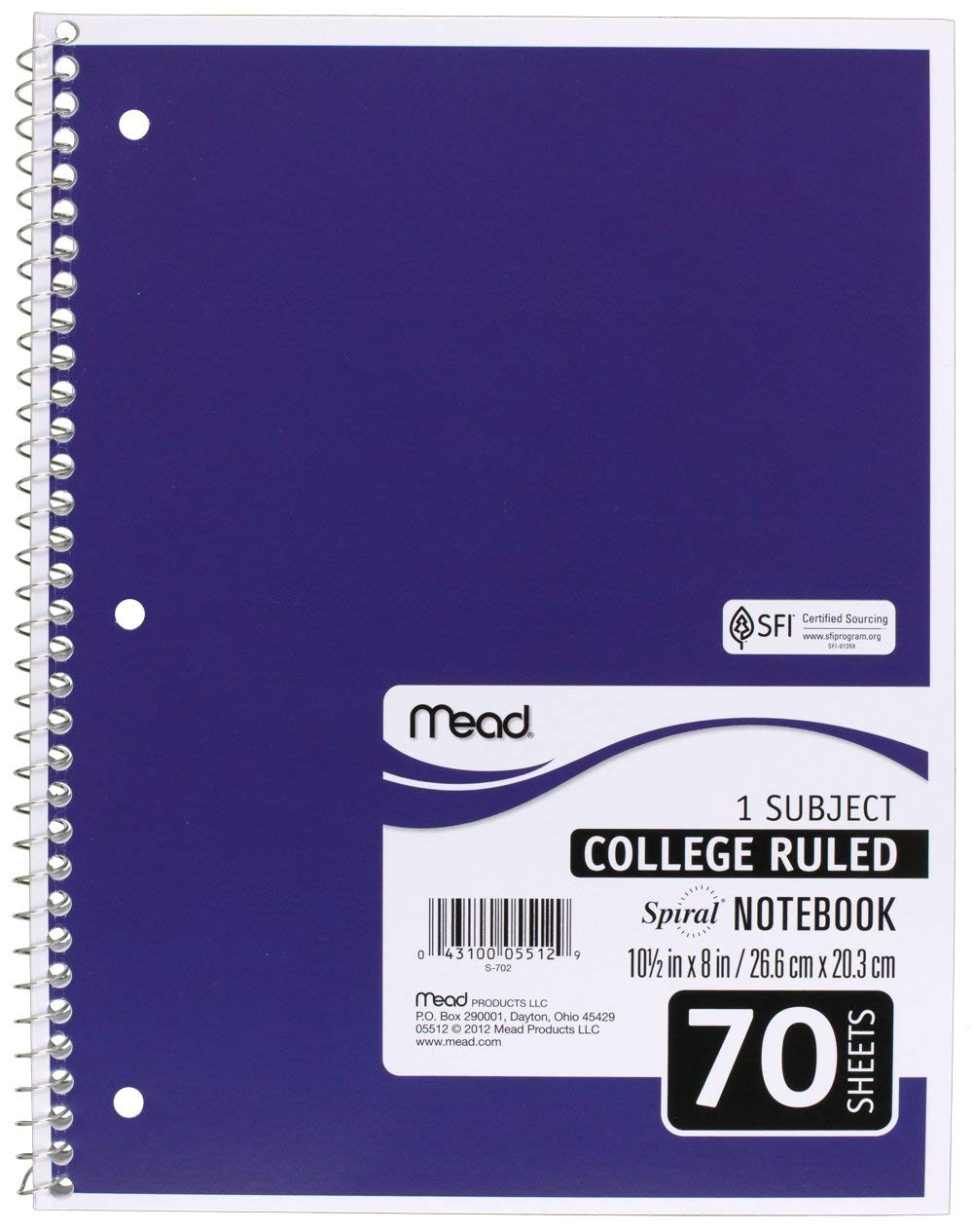 Mead SLTYGJHJ Spiral Notebooks, 1 Subject, College Ruled Paper, 70 Sheets, 10-1/2'' x 7-1/2'', Assorted Colors, 6 Pack (73065) 36 Pack by Mead (Image #6)