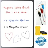 Angel Bear Magnetic White Board Sheet (17x11) Inches - Dry, Erase. Can Be Stuck On Refrigerator or Any Metal Surface| Includes 1x White Board Sheet, 3X Markers and 1x Eraser