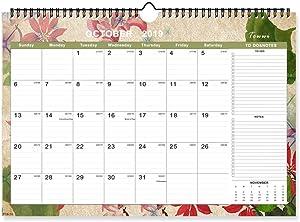 """TOWWI Monthly Academic Wall Calendar, September 2019 - December 2020 Desk Calendar, 17"""" x 12"""" Wirebound Calendar Office Decor"""
