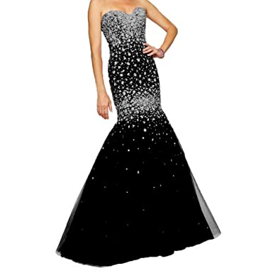 Fashionbride Womens Mermaid Prom Gowns Long Rhinestones Formal Evening Dresses 2018 Black 2
