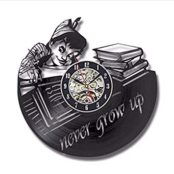 TIANZly Disco de Vinilo Reloj de Pared de Diseño Moderno Decorativo Relojes Peter Pan Mute Estilo Retro Vintage Negro Reloj de Pared Decoración para El ...