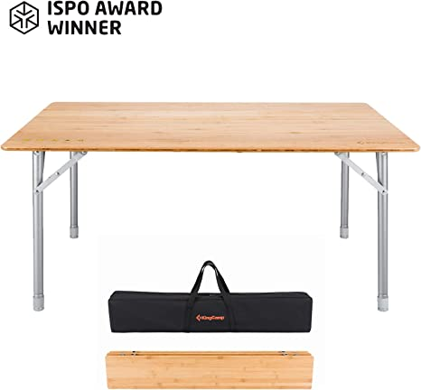 KingCamp Bamboo Folding Table Adjustable Height Anti-UV Coated 6 Persons