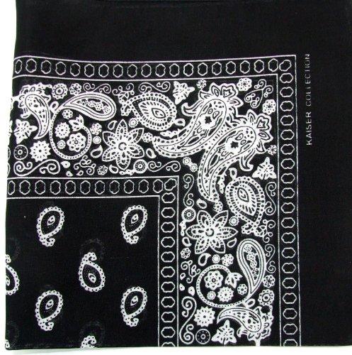 Novelty Bandanas Paisley Cotton Bandanas (Black, 22 X 22 in)