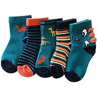 Ehdching Baby Toddler Boys Novelty Warm Cotton Dinosaur Stripe Cartoon Ankle Socks 5 Pack