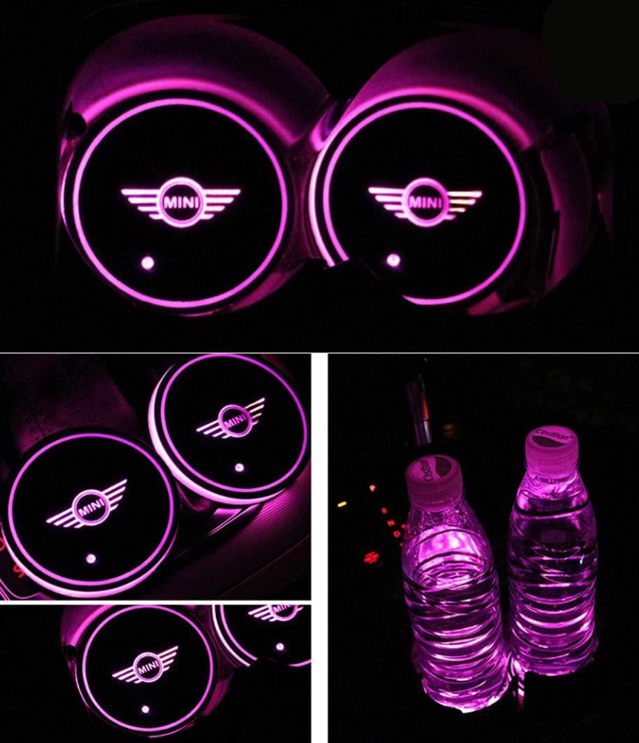 fit Mi-ni Interestingcar LED Car Cup Holder Lights,LED Car Logo Cup Holder Pad Waterproof Bottle Drinks Coaster Built-in Light 7 Colors Changing USB Charging Mat LED Cup Mat Car Atmosphere Lamp 2PCS