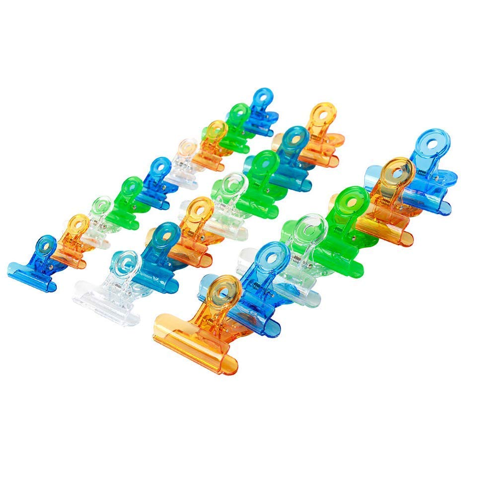 ilyever 30 Pack Transparent Colored Plastic Chip Bag Clips Paper Sheets Clamps Bulldog Binder Clips,Assorted Sizes and Colors