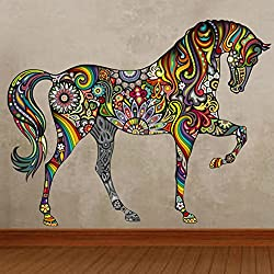 19 x 15 Inch Cartoon Colorful Horse Pattern Wall Sticker DIY Fashion Wall Decor Art for Living Room Bedroom Nursery Decorative Vinyl Stickers Mural Home Decoration
