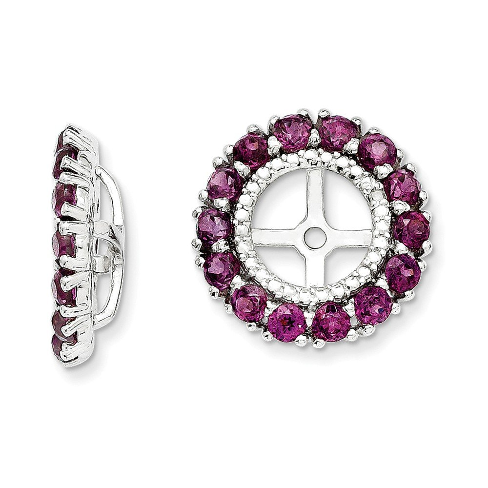 Sterling Silver Rhodium Diamond & Rhodolite Garnet Earring Jacket