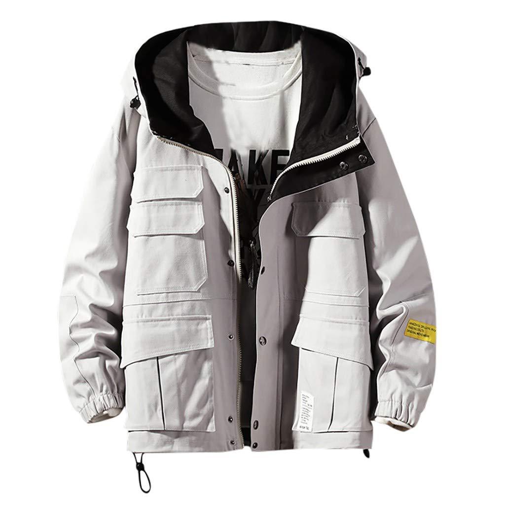 Men's Windproof Hooded Jacket, Male's Large Size Long Sleeve Autumn Winter Coat Full Zipper Multi-Pockets Button Outwear (XXXXX-Large, Gray) by LANTOVI Men Sweatshirt