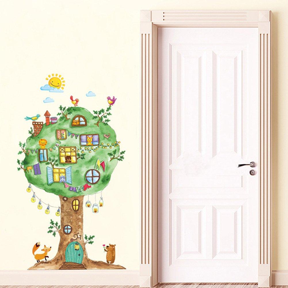 Beb/é Ni/ños Hogar Infantiles Dormitorio Vivero DIY Decorativas Arte Murales Wallpark Dibujos animados Grande Animales /Árbol Casa Lindo Oso Le/ón Desmontable Pegatinas de Pared Etiqueta de la Pared