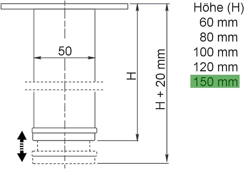 SO-TECH/® Juego de 4 piezas Pie de Muebles JIMMY Negro /Ø 50 mm//Atura 150 mm