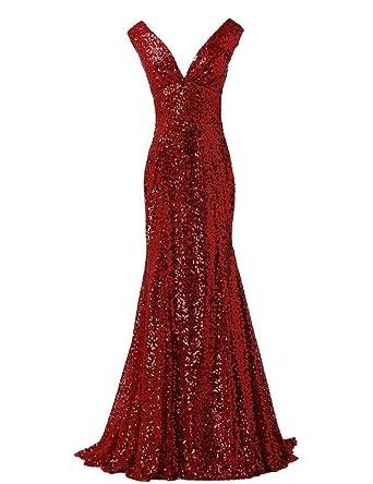 247ce76e32e LanierWedding Gold Sequins Mermaid V Neck Bridesmaid Dresses Plus Size Prom  Dresses Burgundy Size 2