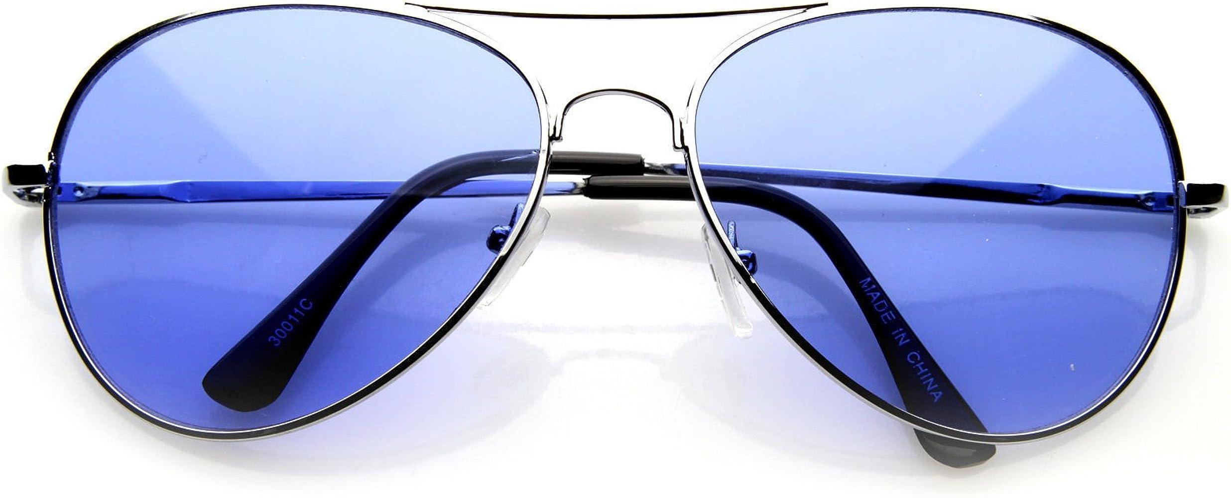 Amazon.com: Aviator anteojos de sol Marco de plata azul ...