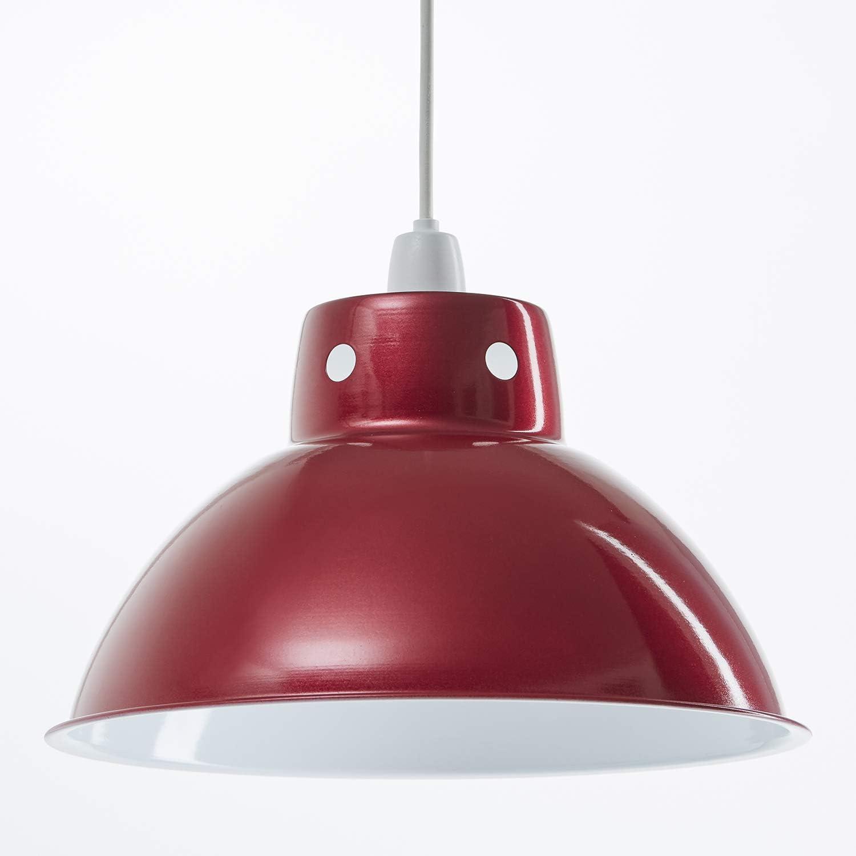 Paralume in metallo a sospensione con paralume in metallo stile funky retr/ò diametro 300mm Blu Polvere aspetto vintage industriale moderno