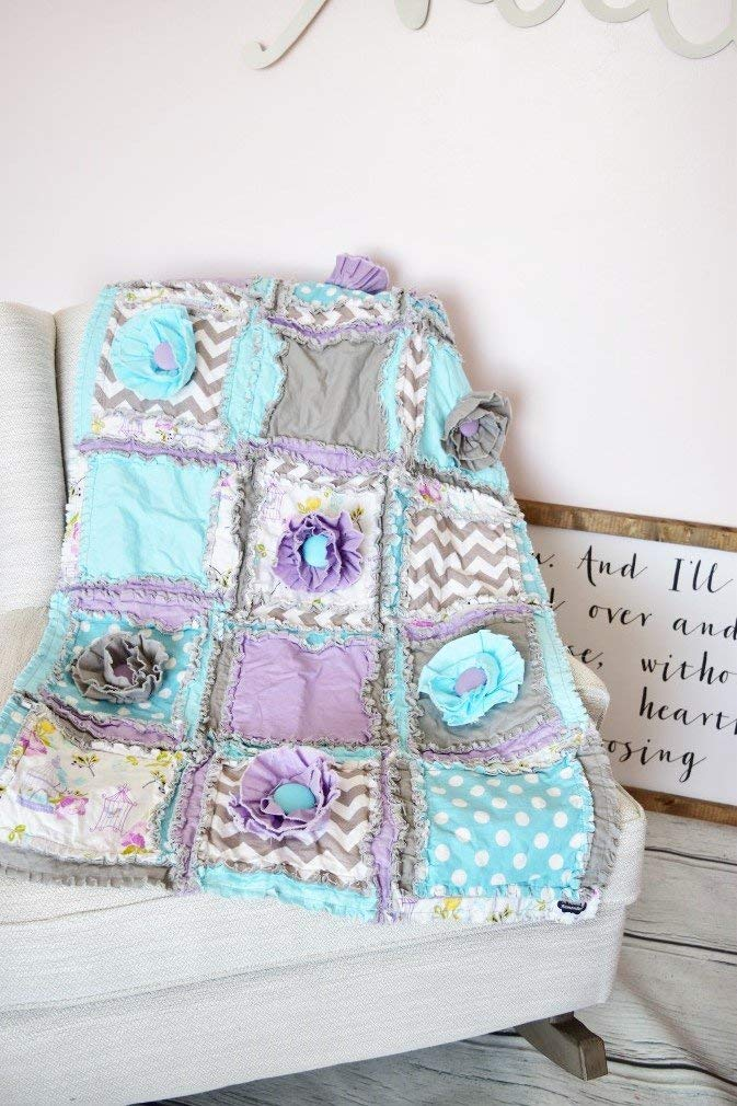 Image of Birdhouse Baby Girl Crib Quilt for Nursery Bedding Decor - Purple/Aqua/Gray - QUILT ONLY Home and Kitchen