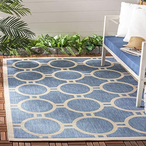 Safavieh Courtyard Collection CY6924-243 Blue and Beige Indoor Outdoor Square Area Rug 7 10 Square