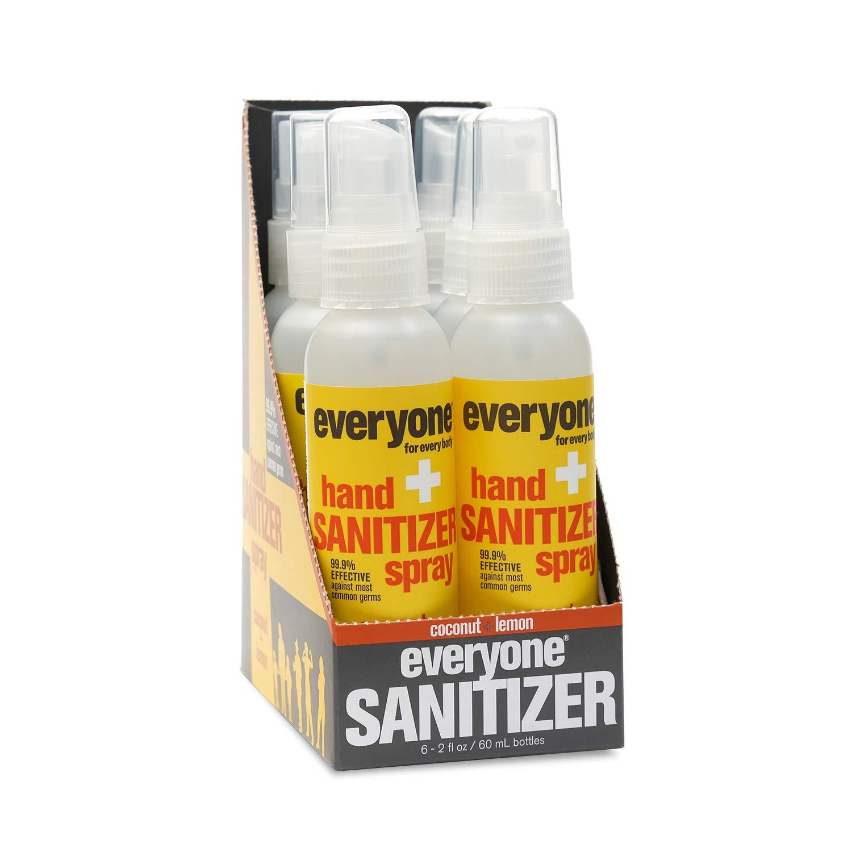 Everyone Hand Sanitizer Spray, Coconut + Lemon, Travel-Size, 2 Ounces, 6 Count